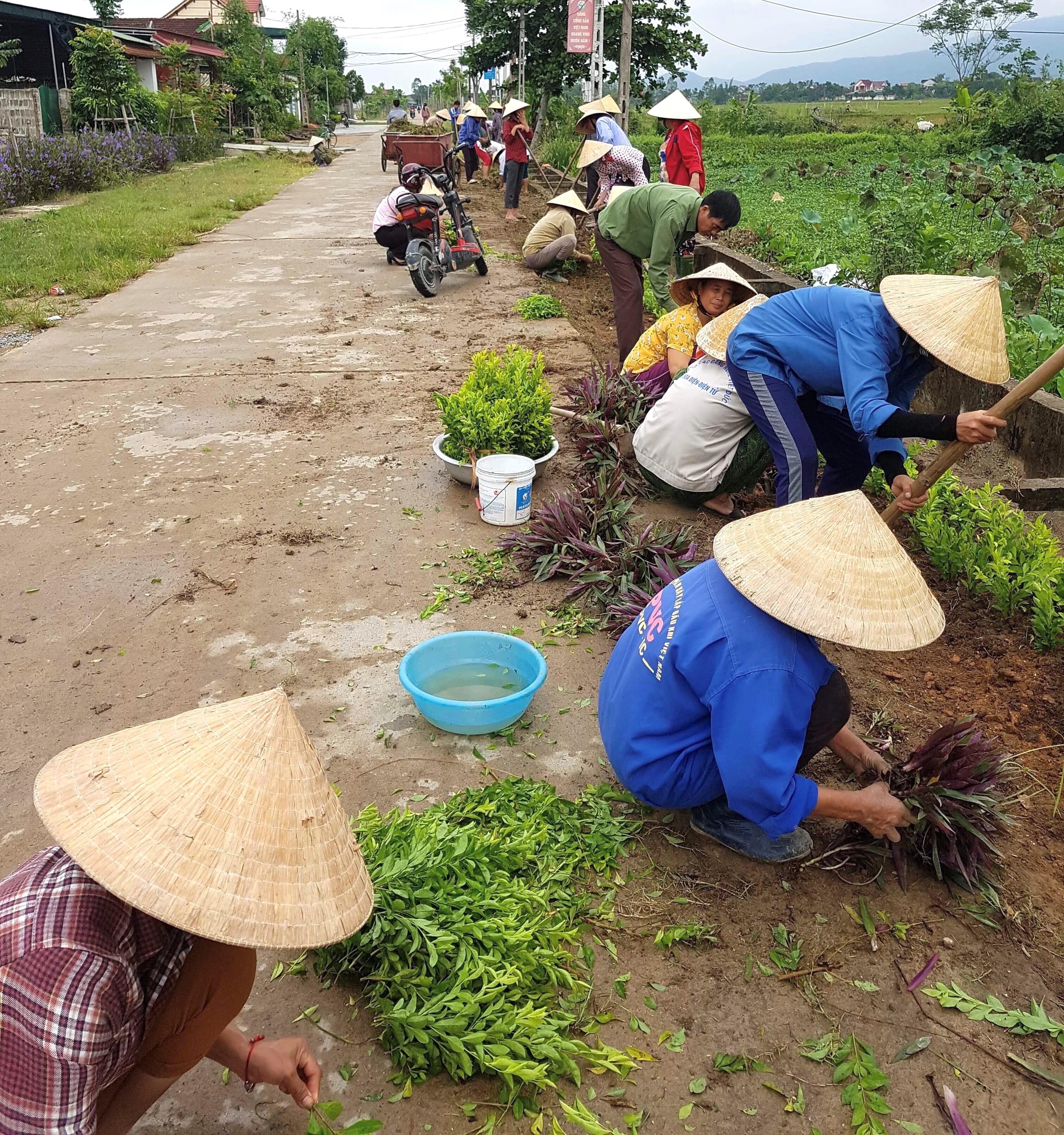 Ra quân trồng tuyến đường hoa với chiều dài hơn 500 mét